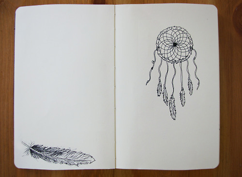 drawing, dreamcatcher, feather, notebook
