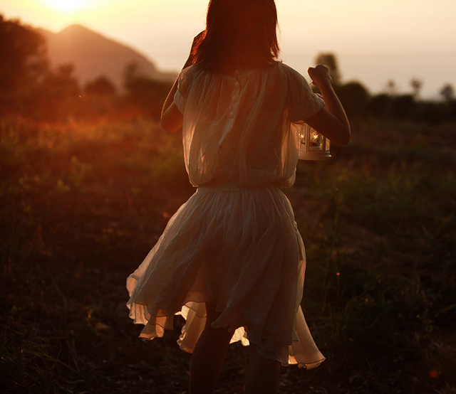 dreamy, dress, girl, lantern, lovely