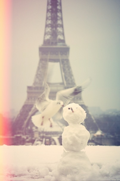 eiffel tower, paris, snow, snowman, winter