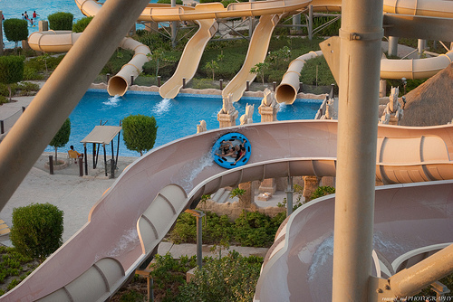 family tube, summer, water park, waterslide