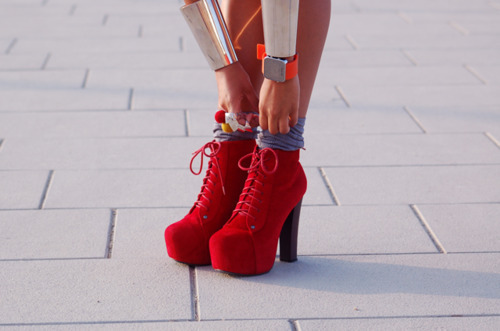 fashion, fashionista, female, heels, red