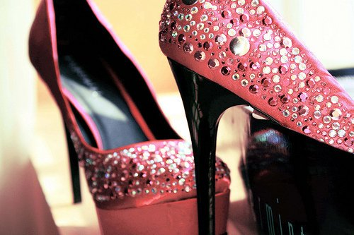 fashion, gems, glitter, heels, pink