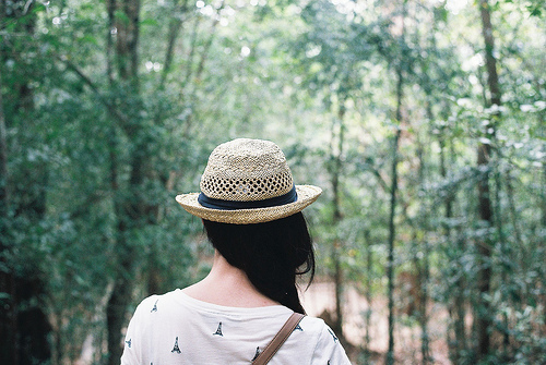 fashion, girl, hat, nature, nieznane