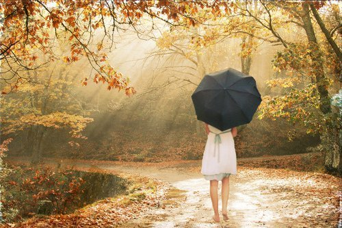 forest, girl, photography, umbrella, wood