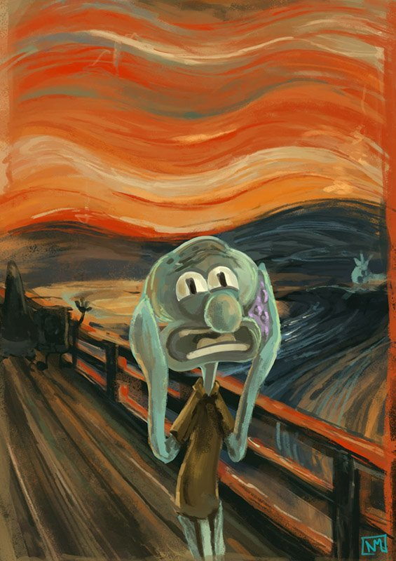 funny, painting, sponge bob, squidward, the scream