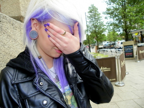 girl, gorgeous, hair, plugs, purple