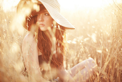 girl, grass, hat, look, nature