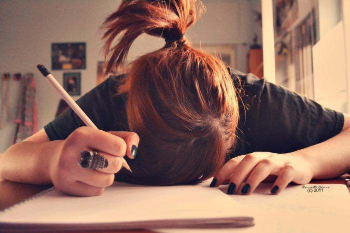 girl, hair, homework, owl, red