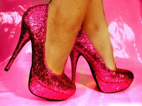 glamour, glitter, high heels, pink, shoes