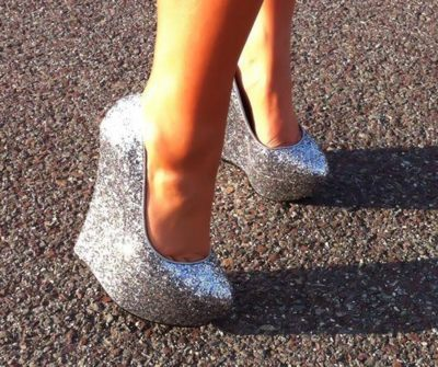 glitter, high heels, sparkly, sunlight, wedge