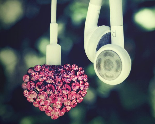 green, headphones, heart, music, pink