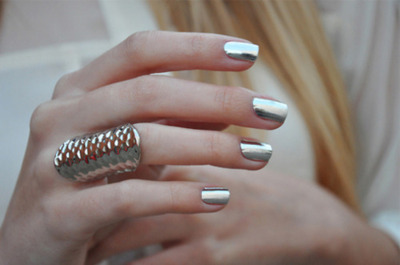 hand, metallic, nail polish, ring, silver