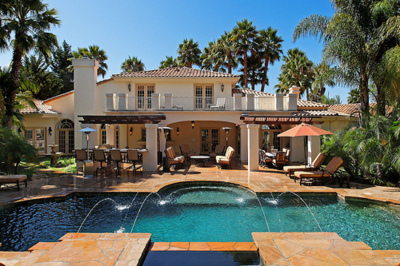 house, luxury, palm trees, palms, pool, water