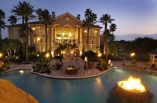 house, mansion, outside, patio, pool