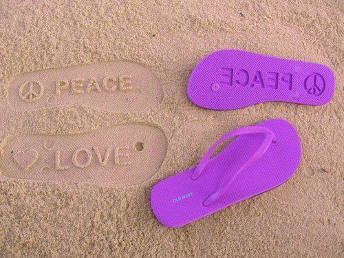imprint, jandals, love, peace, purple, sand, symbol