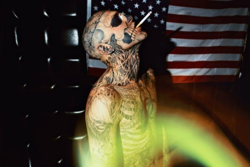 ink, rick genest, rico the zombie, skellaton, tattoo