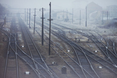 photography, rail road tracks, snow, train yard, winter