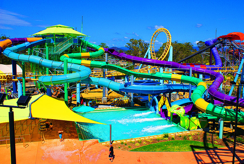 slides, summer, water, water park, water slide