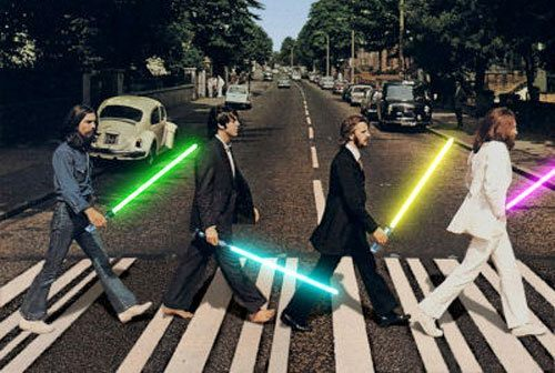 abbey road, art, beatles, blue, cool, foto, funny, george, john, laser, lightsaber, london, londres, lucy, music, musicians, paul, photo, photography, pink, red, ringo, separate with coma, star wars, sword, the beatles, yellow