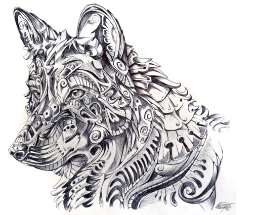 Abstract art black and white drawing fantasy illustration