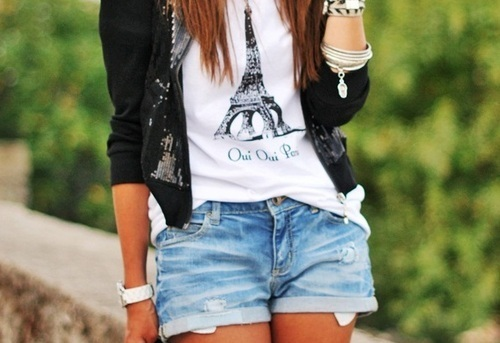 accessories, bracelet, cute, dress, eiffel tower, fashion, paris, shorts