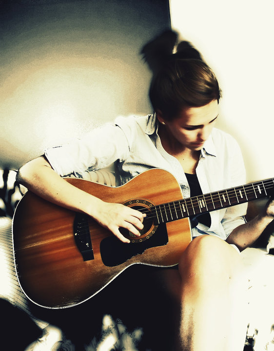 acoustic guitar, girl, guitar, music, photography
