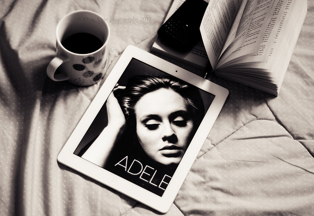 adele, bed, black &amp; white, black berry, book