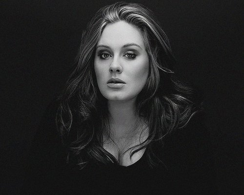 adele, black and white, girl, photography