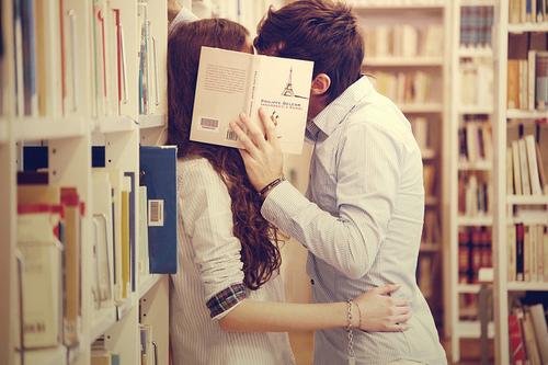 adorable, beautiful, book, boy, cute, girl, kiss, library, nice, sweet