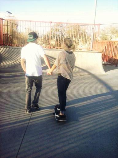 adorable, blonde, boy, couple, cute, girl, inspirational, park, skate park, skateboard, style