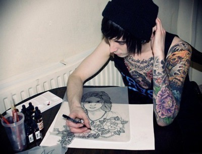 alternative, alternative boy, black hair, draw, guy, hot, tattoo, tattoos