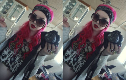 alternative, alternative girl, bandana, black bandana, cam