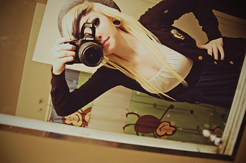 alternative, alternative girl, blonde, blonde hair, girl, makeup, plug, plugs, white hair