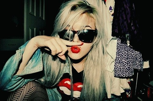 alternative, alternative girl, blonde, fashion, girl, hair, sunglasses, white hair
