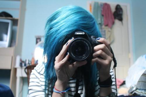 alternative, alternative girl, blue hair, camera, cute, girl