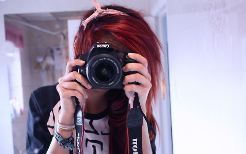 alternative, alternative girl, camera, cute, fashion, girl, hair, red hair