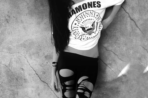 alternative, black, black and white, black hair, girl, grunge, hair, holes, johnny, leggins, nylon, punk, ramones, rock, shirt, skinny, the ramones, thin, tights