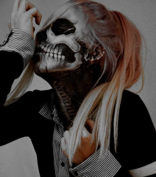 alternative, blonde, cool, cute, girl, makeup, skull