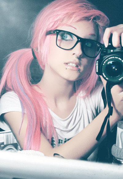 alternative girl, blue eyes, camera, girl, glasses