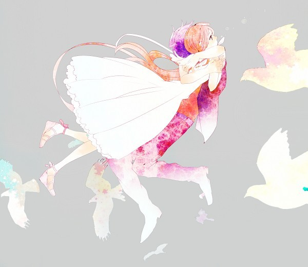 amazing, anime, birds, couple, cute, doves, dress, fan art, fashion, hair, heels, hug, love, pixiv, purple, sweet, white dress