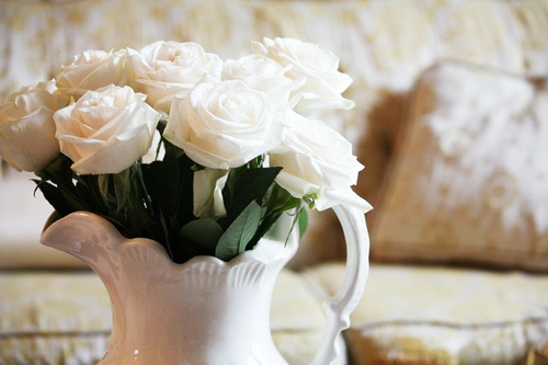 amazing, beautiful, beauty, bouquet, bunch, couch, flower, flowers, glowing, lovely, nature, photography, pottery, pretty, pure, purity, radiant, rose, roses, still life, stunning, white