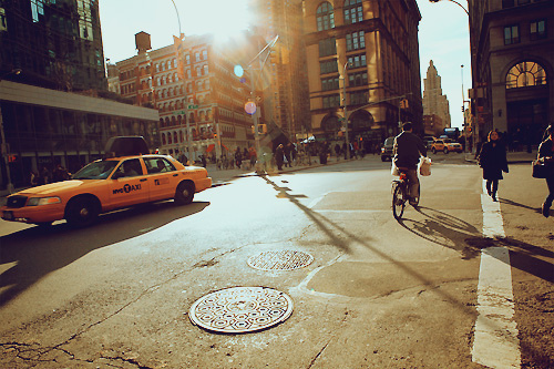 america, bike, buildings, cab, city, light, new york, new york city, north america, places, pretty, street, sun, taxi, travel, united states, united states of america, usa
