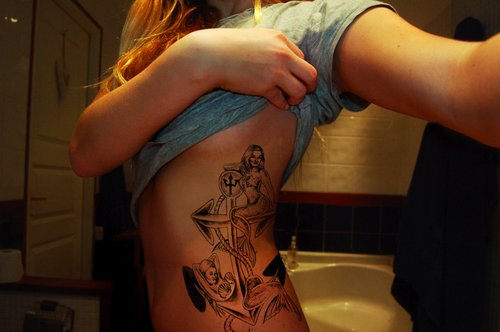 anchor, anchor tat, anchor tattoo, bathroom, blonde, blonde hair, cool, girl, ink, inked, shirt, tat, tattoo, woman