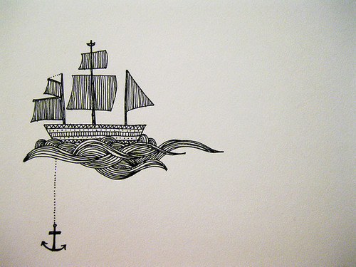anchor, beautiful, black and white, cute, draw
