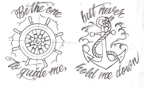 anchor, cute, design, quote, sailor, tattoo