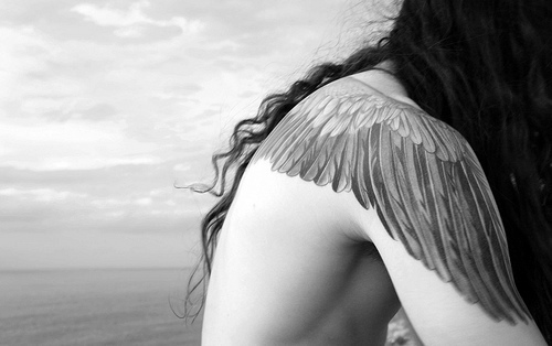 angel, b&w, black and white, fashion, girl, hair, tatoo, tatto, tattoo, wing tatto