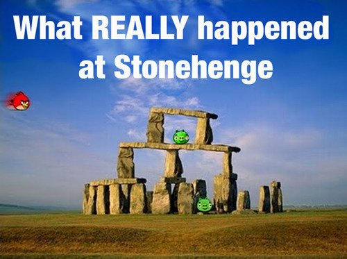 angry, angry birds, birds, funny, meme, pig, stonehenge
