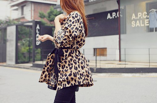 animal, black tights, brunette, fashion, leopard, outfit, print, trench, trench coat