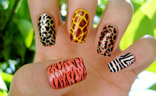 animal print, beautiful, cute, giraffe, green, leopard, nails, pretty, tiger, zebra