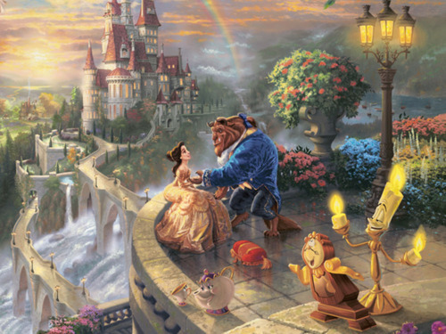 animation, beauty and the beast, castel, contos de fadas, couple, cute, disney, encantado, fairytales, girl, love, magic, prince, princess